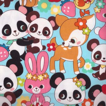 Kokka Sweet Pandas on cotton linen blend