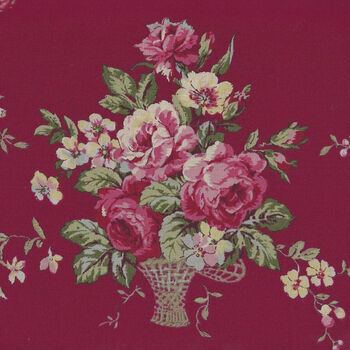 Kono Sanae For YUWA Fabrics of Japan Color Palette Bergundy Flower Basket