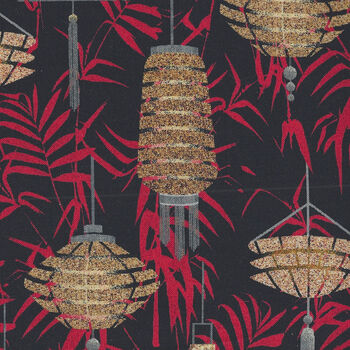 Lanterns Narumi Japanese By Blank Quilting BQ9932 099 Black
