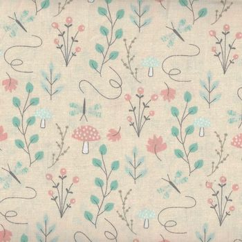 Little Ones by 3 Wishes Fabrics Lo Woodsy Floral Peach 12050 Peach