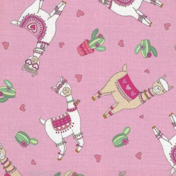 Llama Love By Deb Strain For Moda Fabrics M1992112 Pink Llama