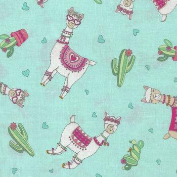 Llama Love By Deb Strain For Moda Fabrics M1992114 Mint Llama