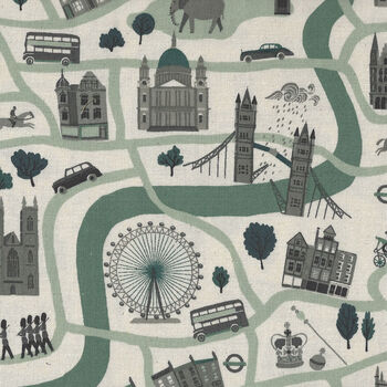 London Town From Cotton+Steel Forever CSSY100MI3U Col Green Unbleached