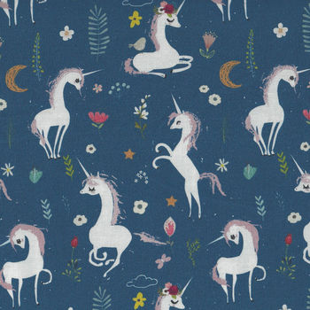 Mermaids And Unicorns From In The Beginning Fabrics Design 4 Mer Colour 1 Navy
