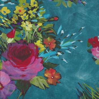 Michael Miller Eat Sleep Garden Cotton Fabric Patt  DCX9063TealD Fresh Cut