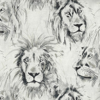 Michael Miller Roarr CX7015 CreamCharcoal Sketch Lion Profiles