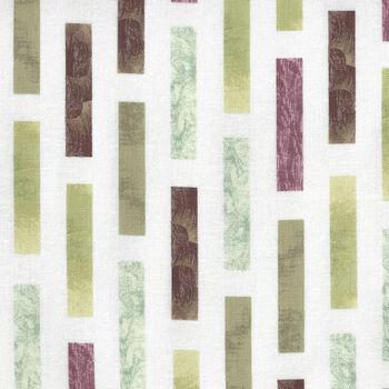 Murano By Stoffabrics Denmark Murano Rectangles MCS 16062 Lime White and Brown