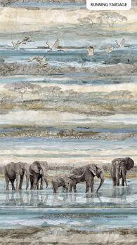 New Dawn by Northcott Fabrics Digital Print 23921 Colour 44 Elephants