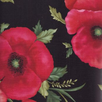 Poppy Panache cotton fabric by Ann Lauer of Grizzly Gulch Gallery for Benartex