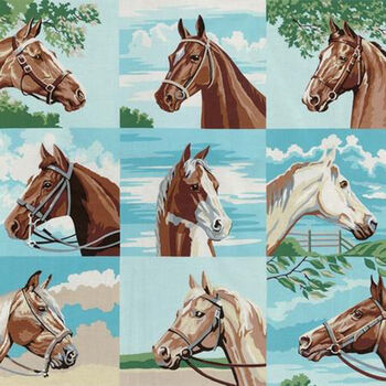 Pure Bred By Erin Michael for Moda Fabrics M2612011 Horse Panel 24 Repeat