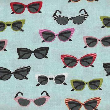 Riley Blake Vintage Sunglasses Novelty by Samantha Walker C4553 col Aqua