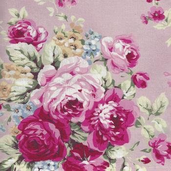 Ruru Bouquet By Quiltgate Fabrics RU2370 11C Pink withPink Roses