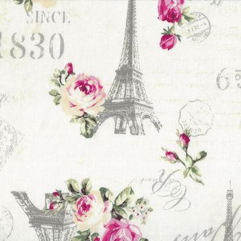 Ruru Bouquet By Quiltgate Fabrics RU2370 12A WhitePink RosesEiffel TowerText