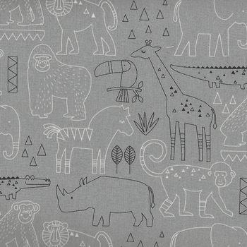 Safari Swank for Northcott 22403 Color 92 GreyAnimal Sketch
