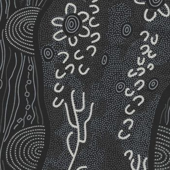 Sandy Creek Black by Janet Nakamarra for MandS Textiles Australia