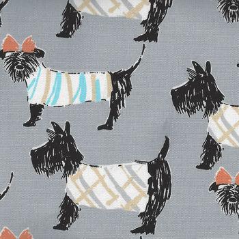 Sevenberry Scottie Dogs CottonLinen Fabric On Grey 850252 Colour 2