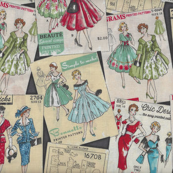 Sew Dressed Up by Robert Kaufman Vintage SRK73158184 Charcoal