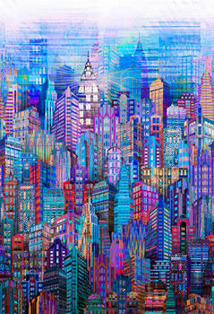 Skylines by Hoffman Digital Spectrum Print SN4234 Blue New York