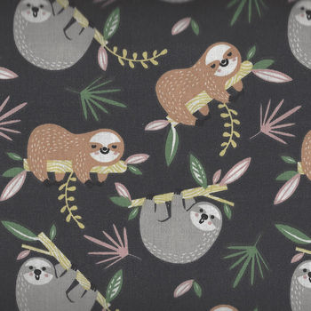 Sloths By Domotex Cotton Fabric Design Lazare Colour 1B CharcoalGreyCaramel 60Wide