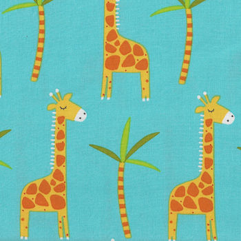 Stay Wild Giraffes From 3 Wishes Fabric 14535 Blue