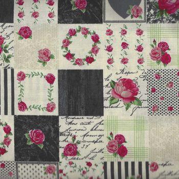 Stof Fabric Rosies Summer 4507 948 Dark Grey