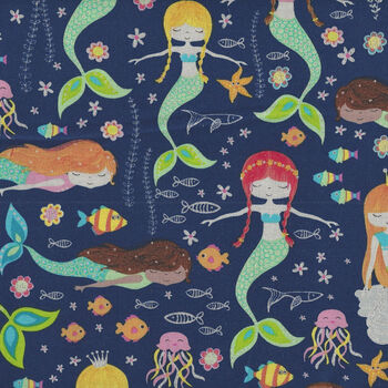 Swimming Glitter Mermaids From Timeless Treasures Fabrics TTCM7436 Navy Kidz