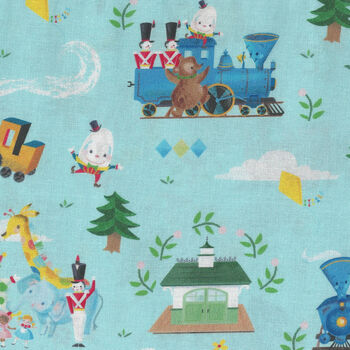The Little Engine That Could From Riley Blake Fabric C9990 Colour Blue
