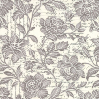 Three Sisters Memoirs From Moda Fabrics M4421111 GreyOff White Flower Over Text