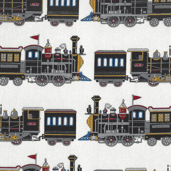 Train From Sevenberry Cotton Fabric 850321 Color 2 Train On White