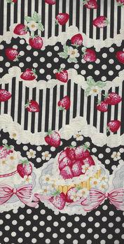 Trefle Kokka Cotton Fabric YKA59030 1D40 Party BlackPale Cream