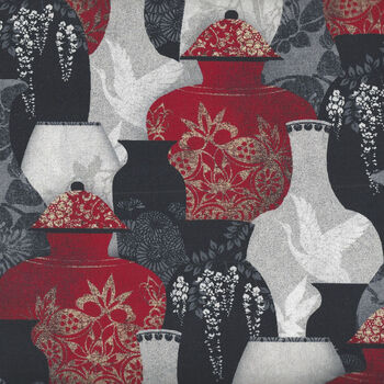 Vases Narumi Japanese By Blank Quilting BQ9927 088 Red