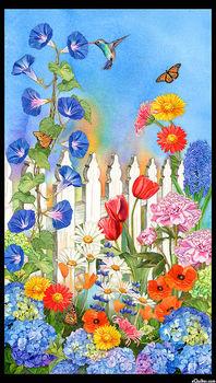 Vibrant Garden Panel  by Lynnea Washburn For Robert Kaufman AWHD18303238 Garden