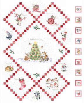 Warm Wishes Christmas Panel From Maywood Studios Fabric 28 x 42 6310 Ultra White