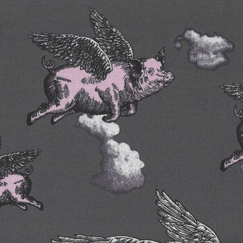 When Pigs Fly by Nutex Fabrics 89730 Colour 1 Charcoal