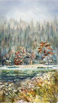 Whispering Woods Hoffman Spectrum Fabric Digital Panel 26x 42 HS4839 611 River Rock