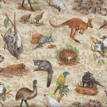 Wildlife from Nutex Fabrics 11700 Color 101 Australian Animals
