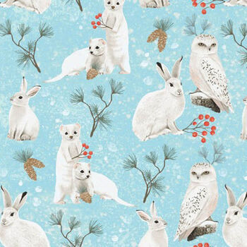 Winter Wonderland From Clothworks Fabrics Y2728103 Light Teal Woodland