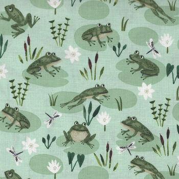 Woogreen frogs dland Wander by Rebecca Jones for Clothworks Y2592 Col 109 Frogs