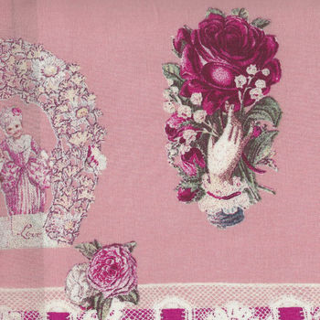 Yuwa Micci Collection Victorian Scraps Children Images on Pink MC314676A