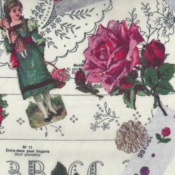 Yuwa Micci Collection Victorian Scraps Images on Pale Cream MC314641  A