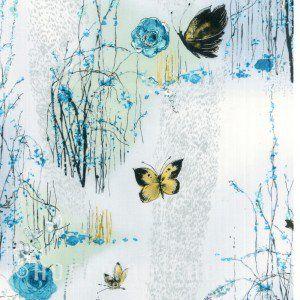 andquotDream Blossomandquot for Hoffman California Fabrics N7501 Dove Silver