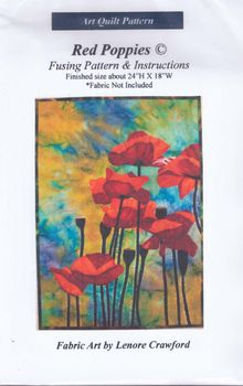 andquotNEWandquot Art Quilt Pattern Red Poppies by Lenore Crawford