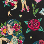 Alexander Henry Fabric Don't Gamble With Love 8781 Colour CR Black Backgroun