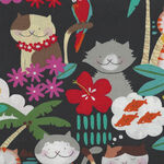 Alexander Henry Fabric Meowi  De Leon Design Group 8816A Black.