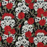 Alexander Henry Fabric The Rose Tattoo Nicole's Prints DE#6457 CRR Black.