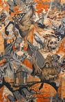 Alexander Henry Hearts Of Darkness Cotton fabric 8268A Black/Orange