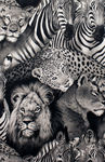 Alexander Henry Lion Eyes Fabric 2883-A Black