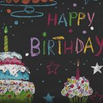 Alexander Henry Nicole's Prints A Happy Birthday 8434 Colour Black
