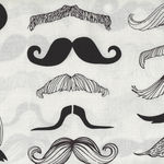 "Alexander Henry ""Where's My Stache"" Cotton Fabric 7567 A Black/Cream"