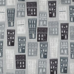 Around Town By Whistler Studios For Windham Fabrics 51840-1 Black/Grey Houses.
